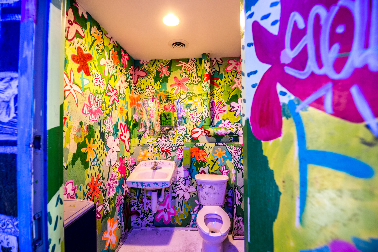 PLACE #9: Mecca / ADDRESS: 1429 Walnut Street (45202) / Considering how crazy colorful the bar and patio of Mecca are, it should come as no surprise that its bathrooms are just as wild. Every bathroom explodes with color and will definitely grant your selfie game some serious bonus points. / Image: Catherine Viox // Published: 8.8.19