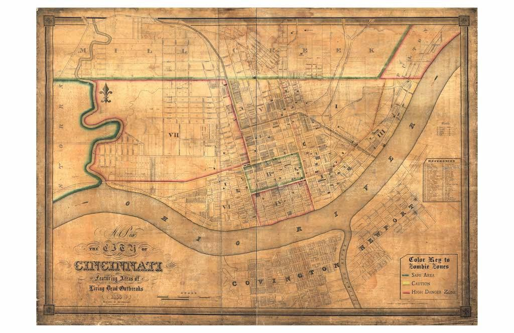 """This hand-tinted map of Cincinnati dates from approximately 1838 and includes a remarkable [amount] of detail about the initial construction of the city. The descriptions of the neighborhoods as 'Color-Coded Zombie Zones' refers to the war-like status of the battle between the citizens of Cincinnati and the flesh-eating, shambling denizens of the night."" / Image courtesy of Matt Buchholz, Alternate Histories // Published: 6.19.19<br>"