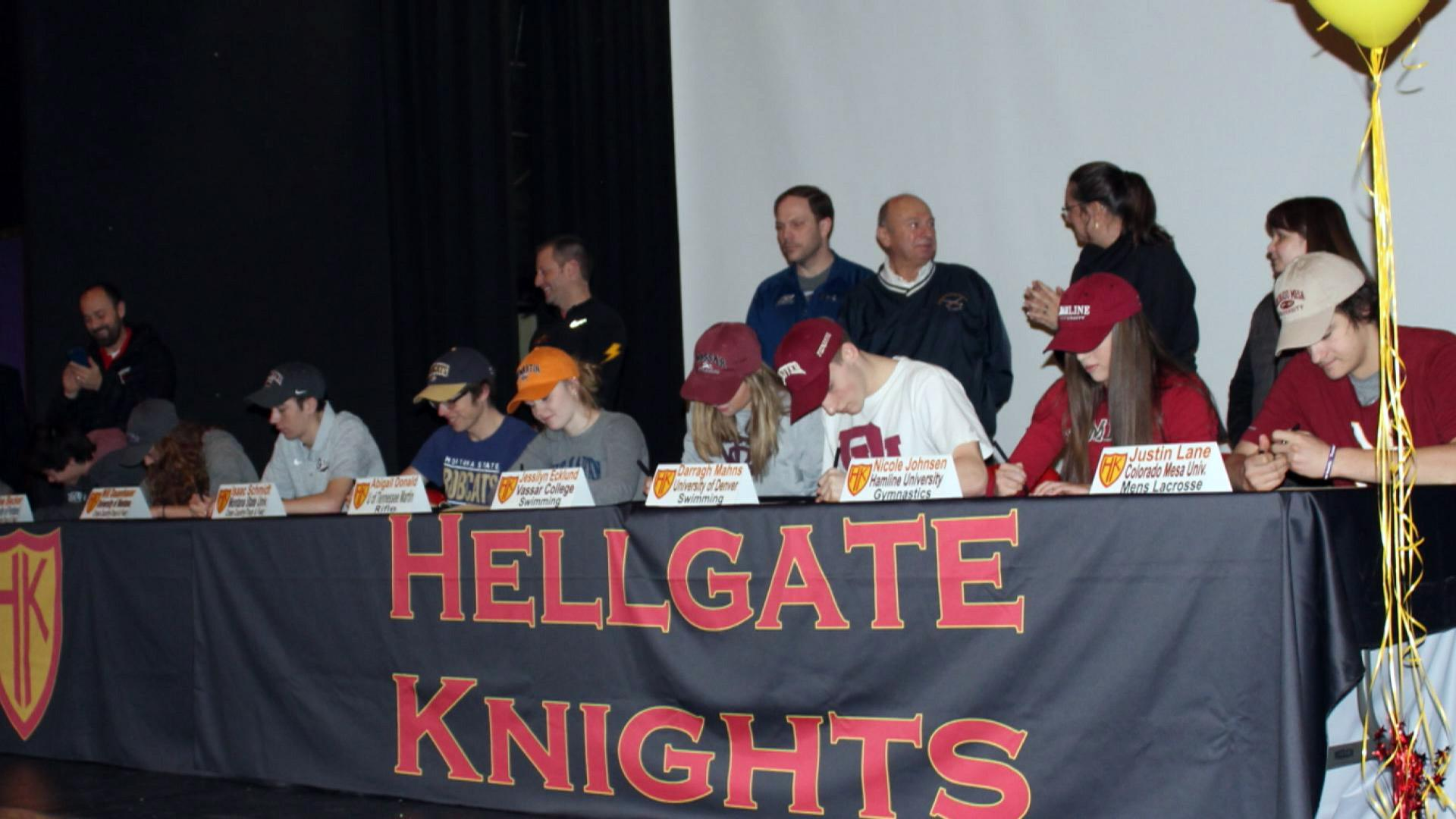 Nine Hellgate High seniors were recognized Wednesday for signing letters of intent to compete in college athletics.<p></p>
