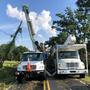 Tree falls on power line during storm