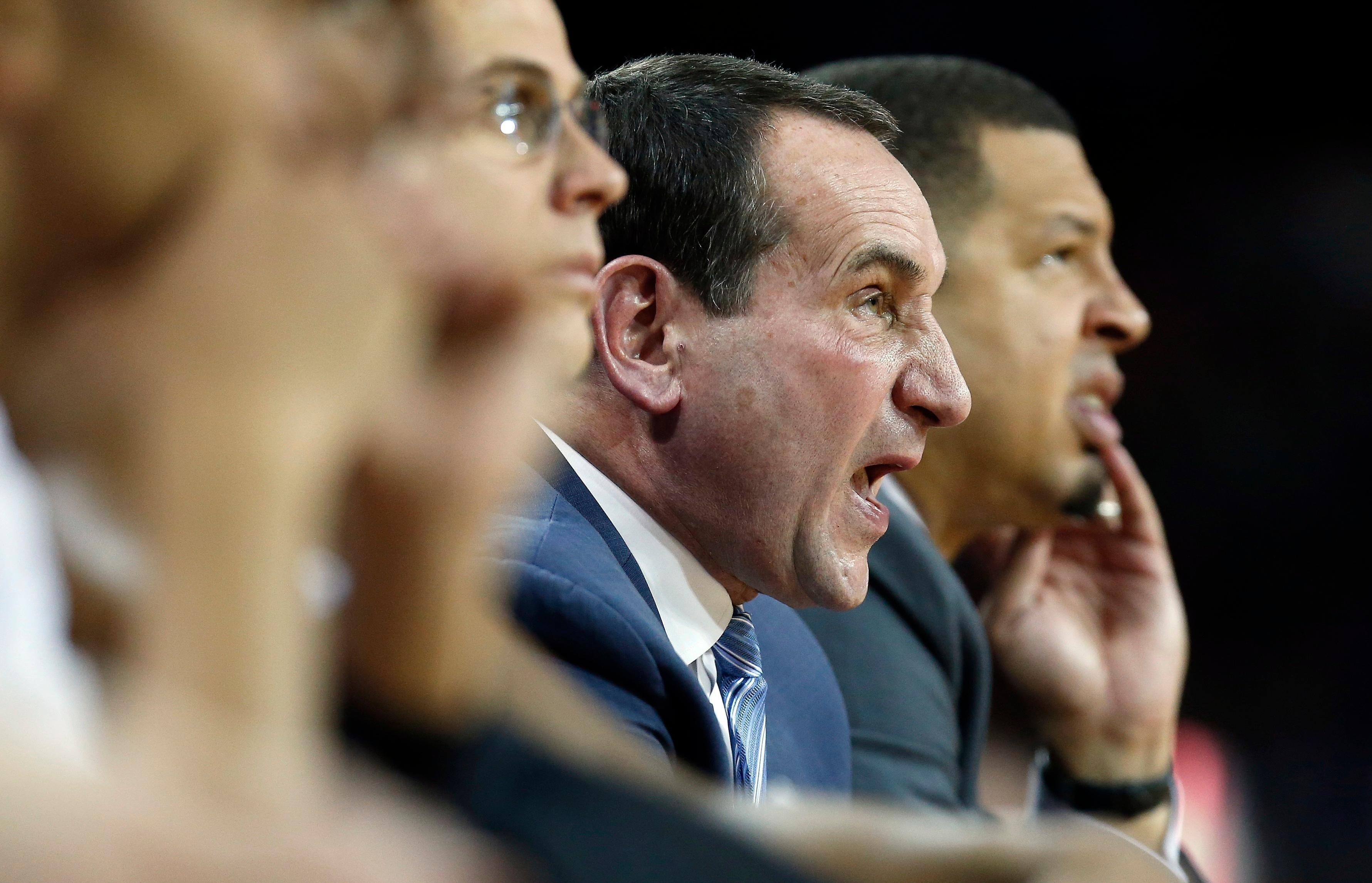File- This Dec. 9, 2017, file photo shows Duke head coach Mike Krzyzewski yelling instructions from the bench during the first half of an NCAA college basketball game against Boston College in Boston. Krzyzewski isn't interested in thinking about how his latest group compares to his past teams. Regardless, this year's team, led by senior Grayson Allen and top-tier freshman Marvin Bagley III, sure looks like a squad set to win another Atlantic Coast Conference championship for its Hall of Fame coach as the bulk of league play arrives this weekend. (AP Photo/Michael Dwyer, File)