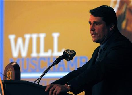 Florida Coach Will Muschamp speaks to media at SEC media days on Monday, July 14, 2014, in Hoover, Ala.