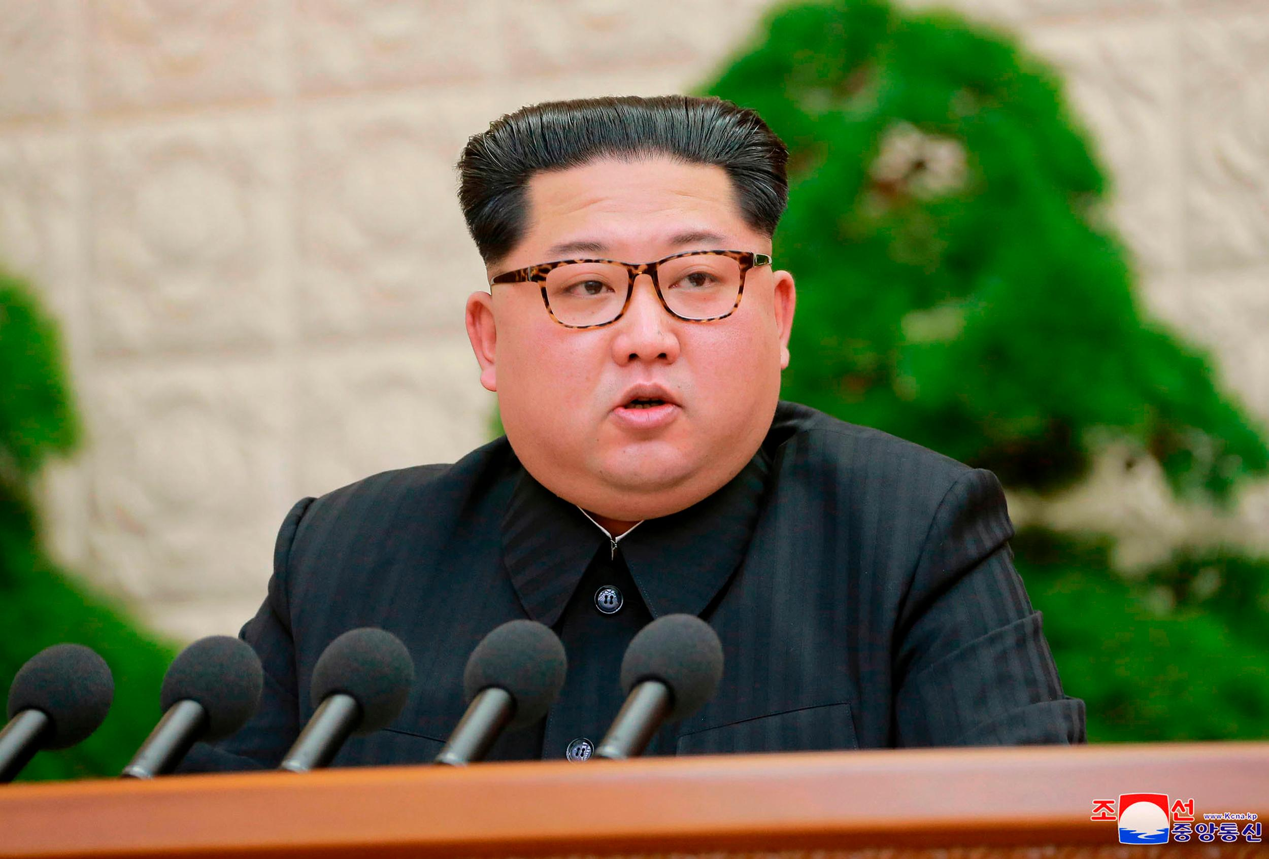 "FILE - In this Friday, April 20, 2018, photo provided by the North Korean government, North Korean leader Kim Jong Un speaks during a meeting of the Central Committee of the Workers' Party of Korea, in Pyongyang, North Korea. North Korea said Saturday, April 21, 2017 it has suspended nuclear and long-range missile tests and plans to close its nuclear test site ahead of a new round of negotiations with South Korea and the United States. There was no clear indication in the North's announcement if it would be willing to deal away its arsenal. Independent journalists were not given access to cover the event depicted in this image distributed by the North Korean government. The content of this image is as provided and cannot be independently verified. Korean language watermark on image as provided by source reads: ""KCNA"" which is the abbreviation for Korean Central News Agency. (Korean Central News Agency/Korea News Service via AP, File)"