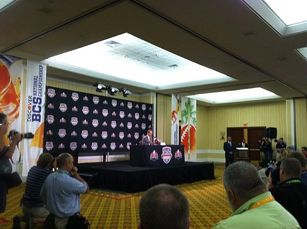 Coach Saban speaking at news conference in Miami
