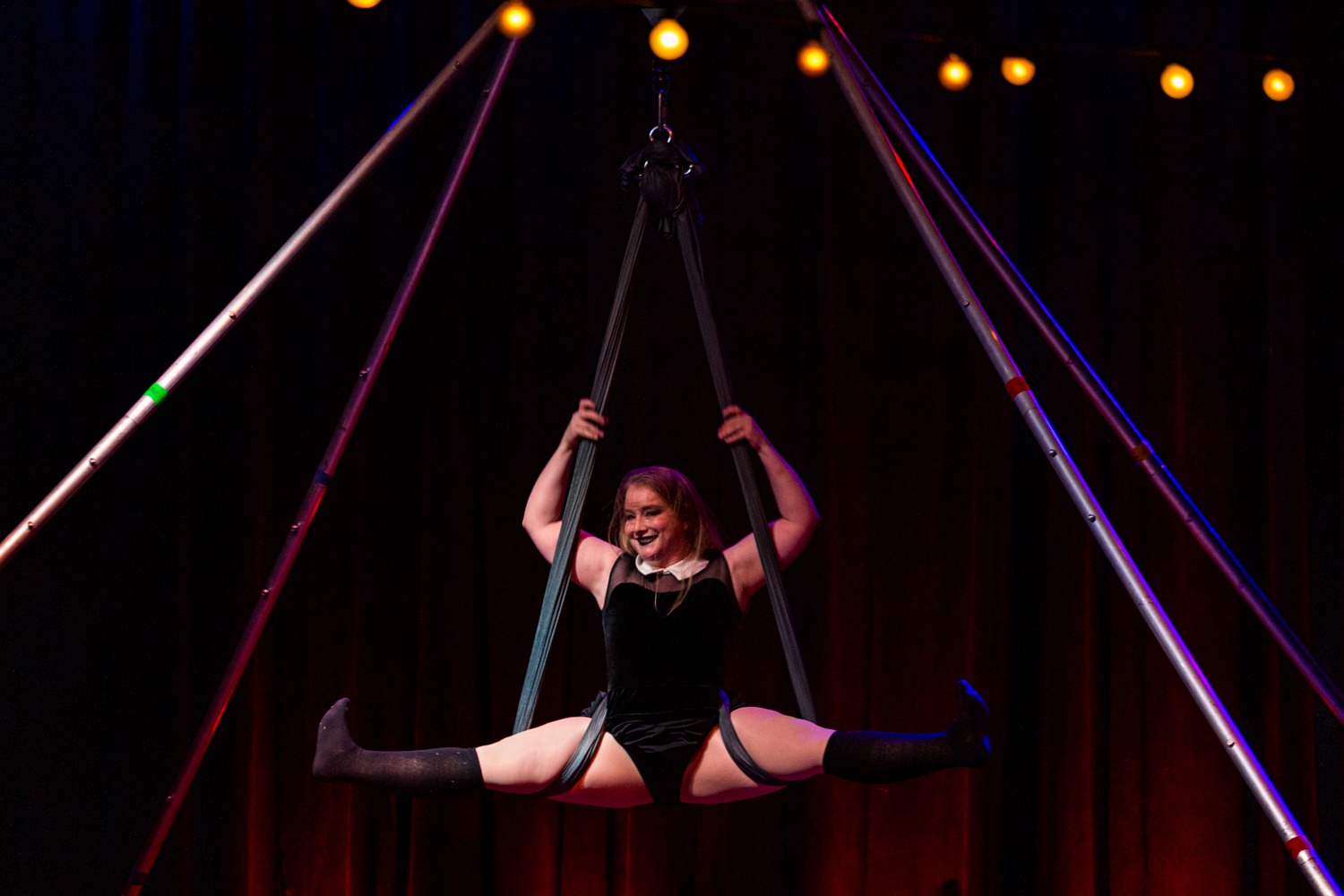 Night Circus: Witchcraft was a magical evening full of burlesque, pole dancing, and aerial silk acts performed in a dark, Halloween theme at the Woodward Theater. The entertaining evening, presented by Passion Productions, took place Friday, October 25, conjuring up tarot card readings, drinks, vendors, and more. / Image: Catherine Viox // Published: 10.26.19