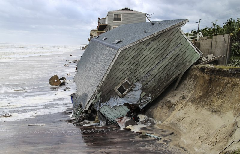 <p>FILE - In this Sept. 11, 2017 file photo, a house slides into the Atlantic Ocean in the aftermath of Hurricane Irma in Ponte Vedra Beach, Fla. Hurricane Irma affected nearly all of Florida to top the list of biggest news stories in 2017. (Gary Lloyd McCullough/The Florida Times-Union via AP, File)</p>