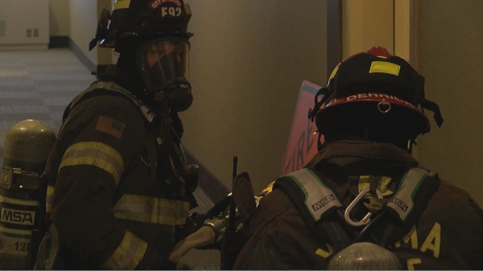 Firefighters Use Hotel To Simulate House Fire Rescue Operation