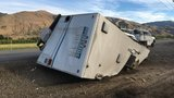 28-foot travel trailer overturns on US-2 near East Wenatchee
