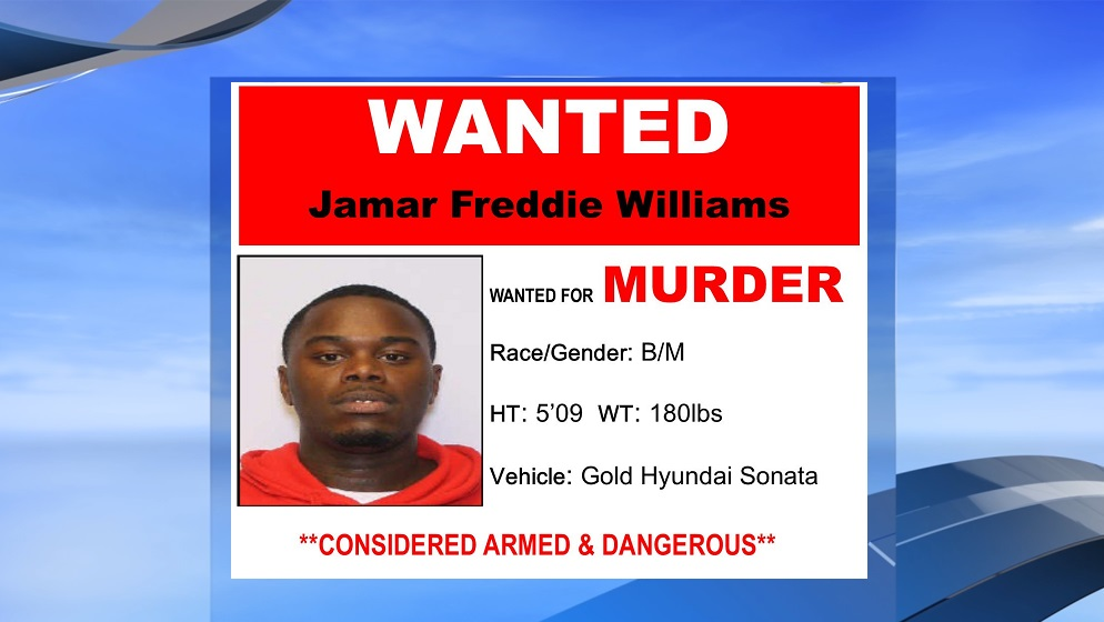 Jamar Freddie Williams is wanted for murder in the death of 31-year-old Jason Bradley Smith, according to Horry County police. (Horry County police. WPDE background)