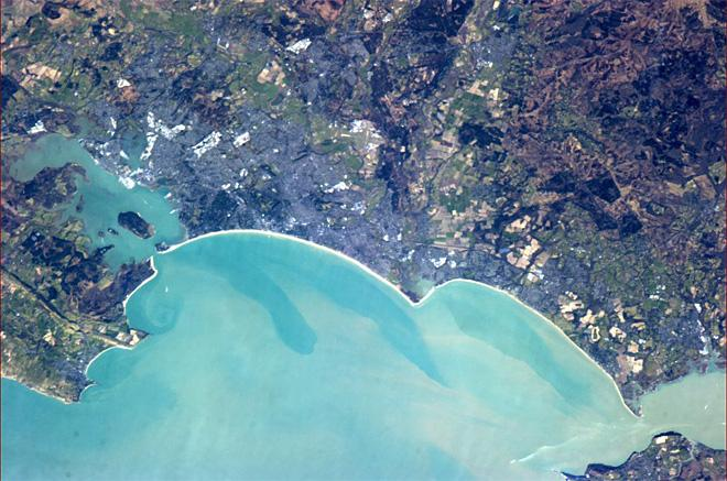Bournemouth, with Poole harbour and beaches on the south English coast.  (Photo & Caption: Chris Hadfield/NASA)