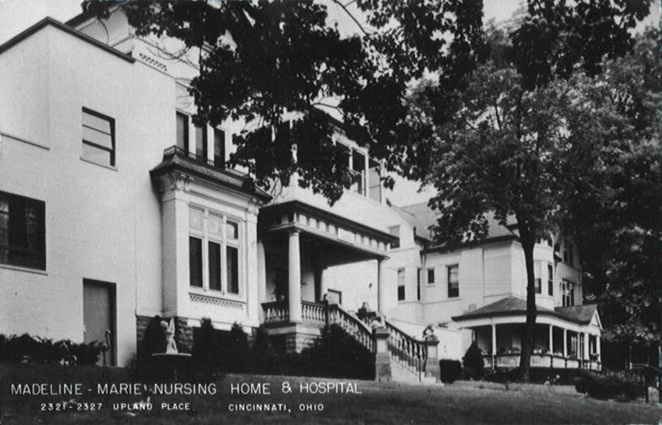 Known as The Charles Mayer House, the home once belonged to Charles Mayer—a Cincinnati-native who served as the U.S. District Attorney in Alabama. The house was given to Mayer and Fannie, his wife, as a wedding gift when he moved back to Cincinnati after his position in Alabama. The building was also home to the Madeline-Marie Nursing Home and Hospital at one point in time. / Image courtesy of Linda Manning // Published: 1.12.21