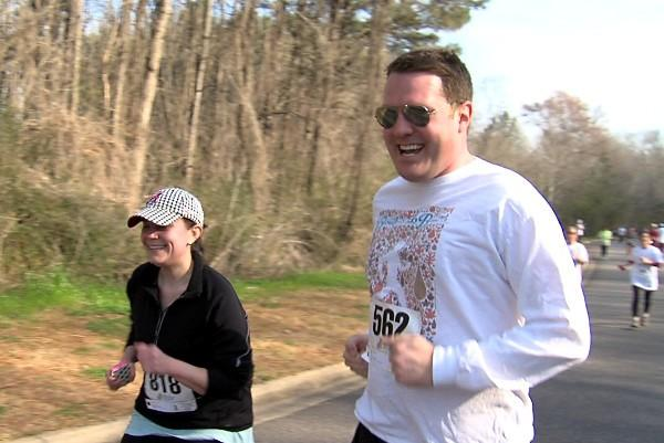 ABC 33/40's Focus@4 reporter Edward Burch running in the 9th Annual Brenda Ladun Conquer Cancer Run on Saturday, March 9, 2013.