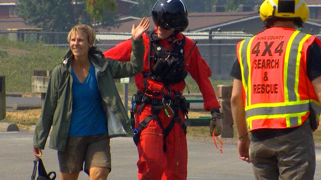 Kimberly Haines after being rescued off Mount Teneriffe (KOMO Photo)