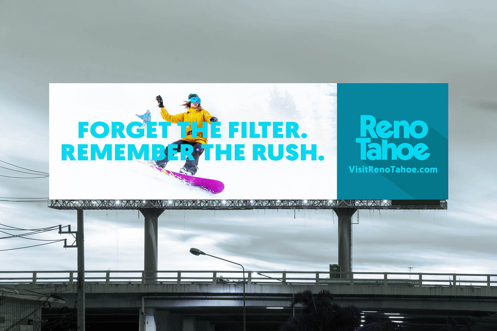 """FORGET THE FILTER, REMEMBER THE RUSH"" is one of the billboards that will be seen throughout the Bay Area, Los Angeles and Seattle area."