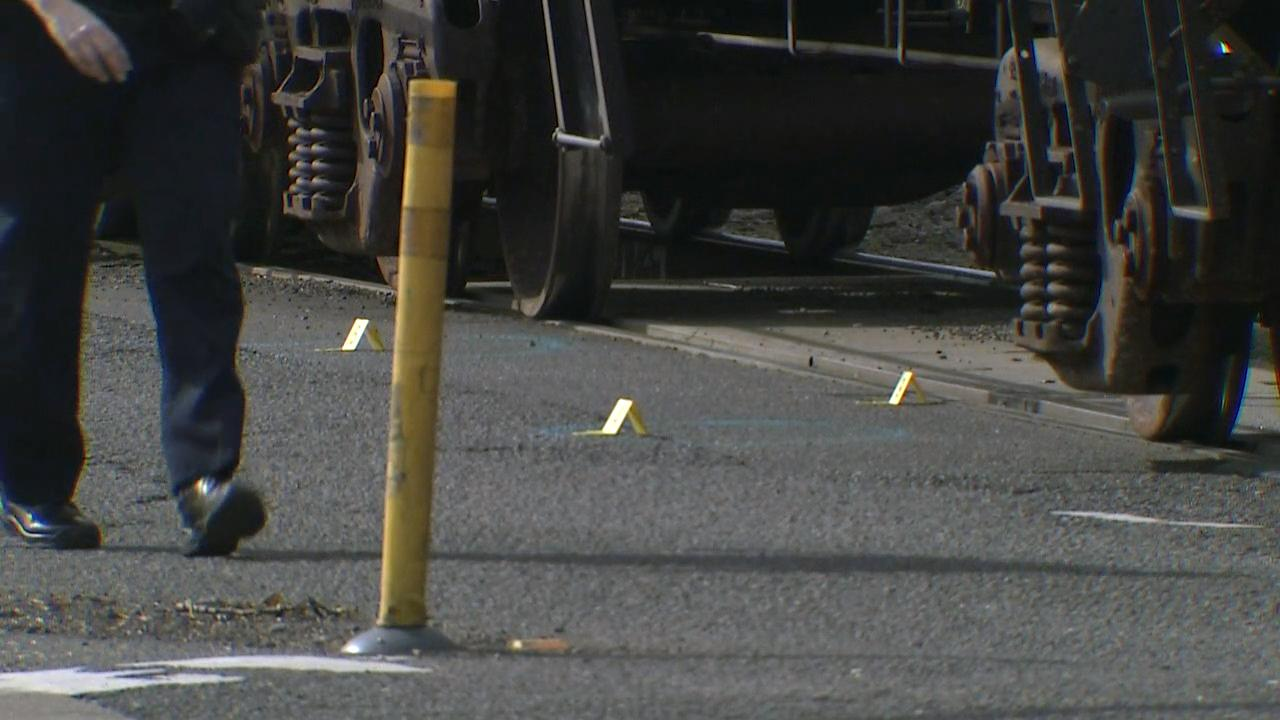 Police conduct an investigation after a train struck a pedestrian in Beaverton at Southwest Lombard and Beaverton Hillsdale Highway on Thursday. (KATU Photo)