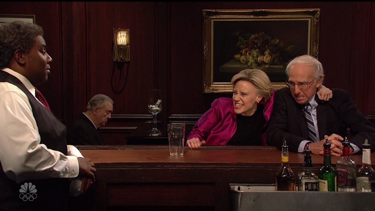 "On this May 22, 2016 episode of NBC's ""Saturday Night Live,"" Larry David resurrects his popular impersonation of Bernie Sanders alongside Kate McKinnon, playing Hillary Clinton. (Supplied by WENN.com)"