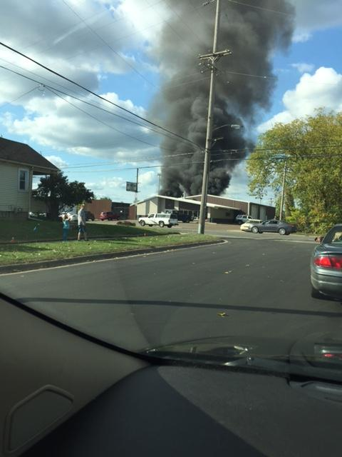Crews are responding to a fire in Kalamazoo at a used car parts yard (Photo: Kami Prince, via email)