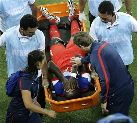 United States' Jozy Altidore is carried off the field during the group G World Cup soccer match between Ghana and the United States at the Arena das Dunas in Natal, Brazil, Monday, June 16, 2014.