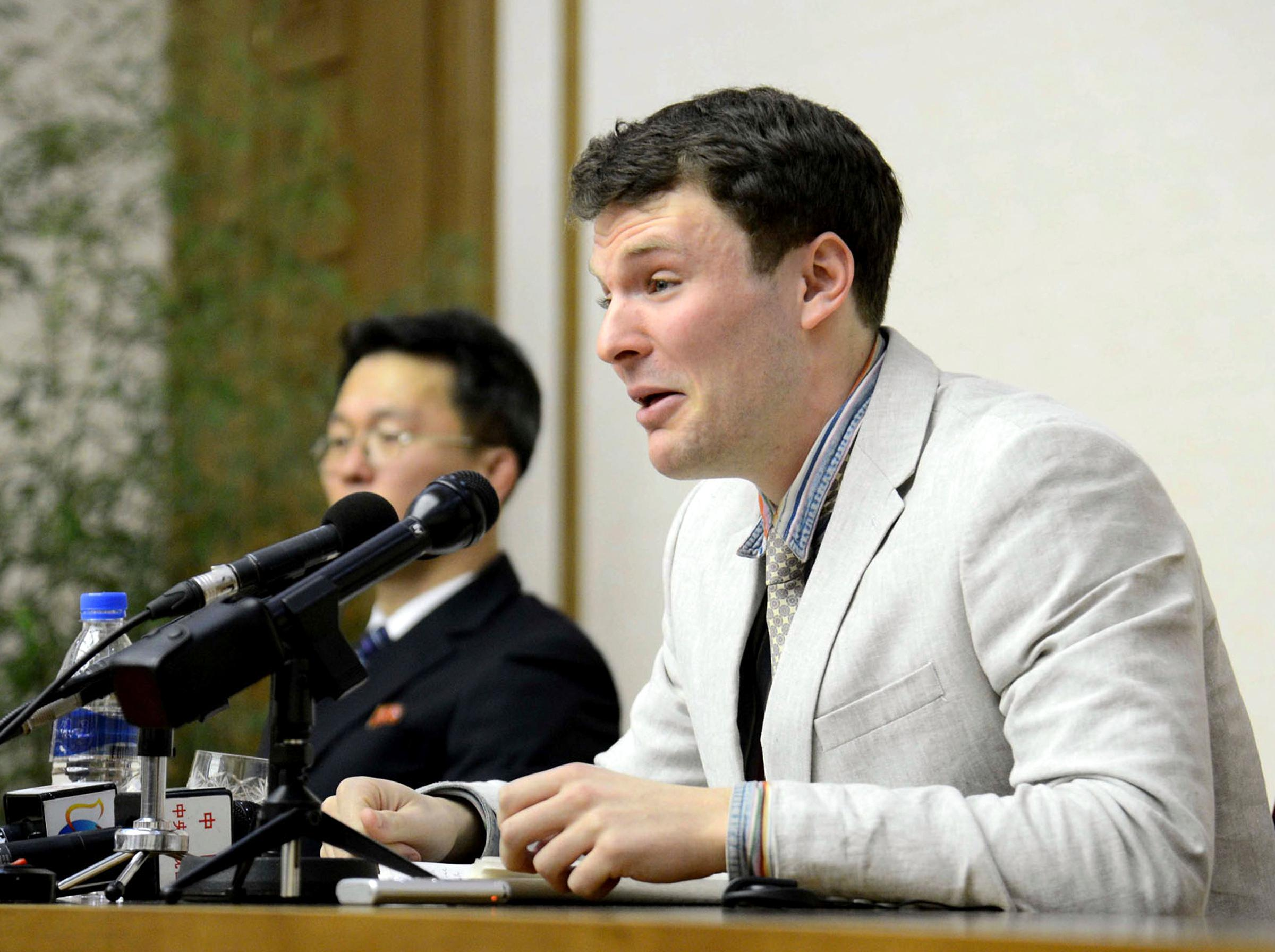 "In this Feb. 29, 2016, photo, American student Otto Warmbier cries while speaking to reporters in Pyongyang, North Korea. The family of Warmbier who died days after being released from North Korea in a coma says the 22-year-old ""has completed his journey home."" Warmbier died Monday, June 19, 2017, relatives said in a statement. He arrived in Ohio on June 13, 2017, after being held for more than 17 months. (Korean Central News Agency/Korea News Service via AP)"