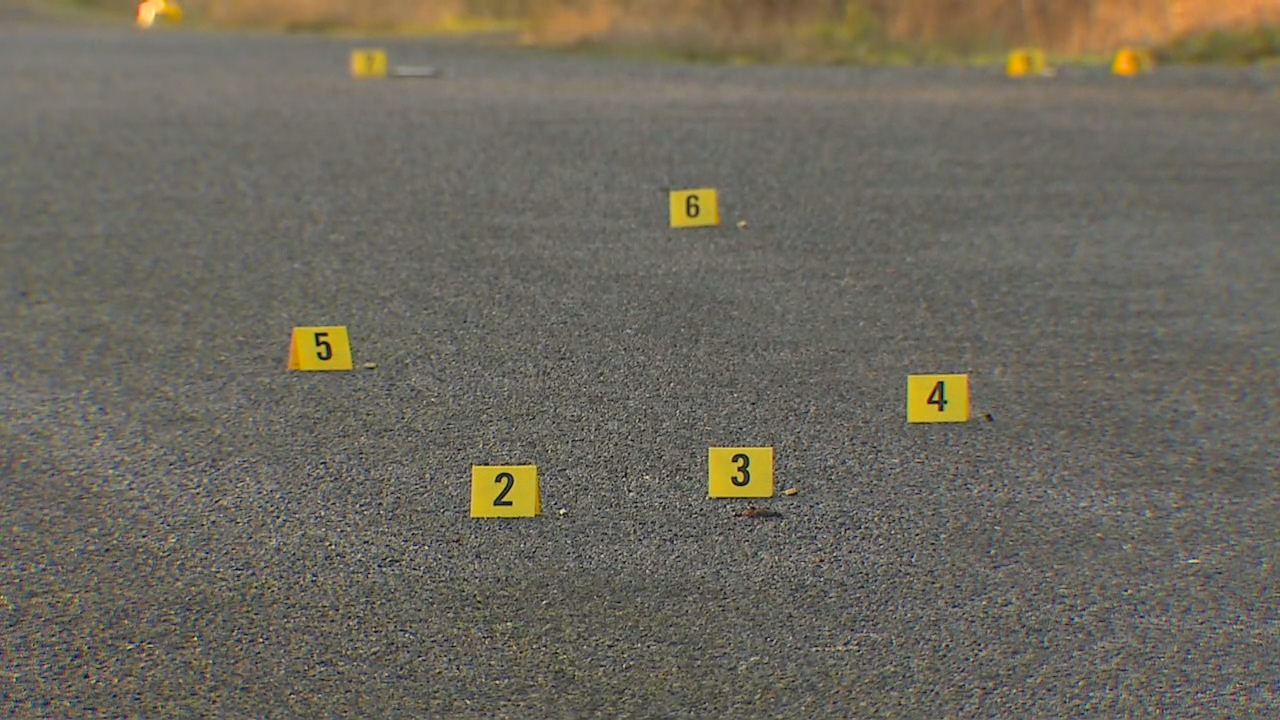 Evidence markers identify possible shell casings. (Photo: KOMO News)<p></p>
