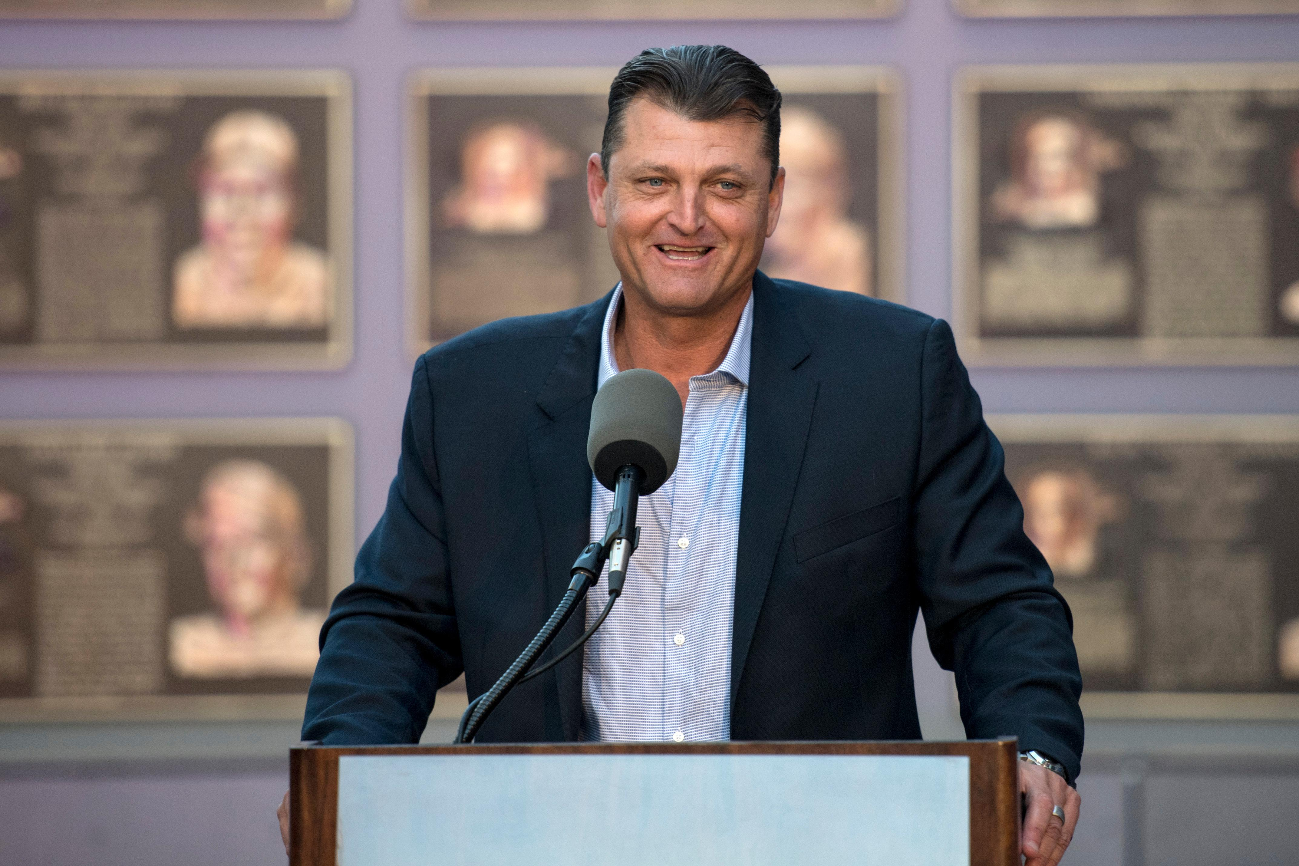 Former San Diego Padres closer Trevor Hoffman speaks during a news conference Wednesday, Jan. 24, 2018, in San Diego after he was elected to the baseball Hall of Fame. (AP Photo/Kyusung Gong)