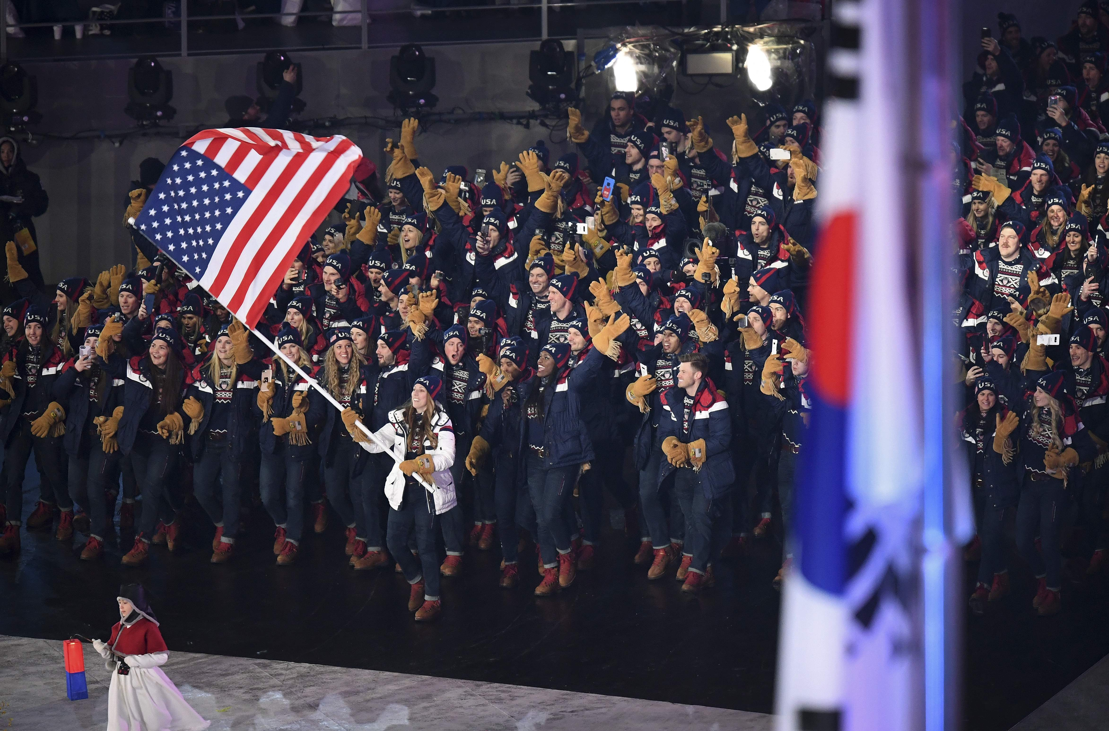 Athletes of the United States arrive during the opening ceremony of the 2018 Winter Olympics in Pyeongchang, South Korea, Friday, Feb. 9, 2018. (Franck Fife/Pool Photo via AP)
