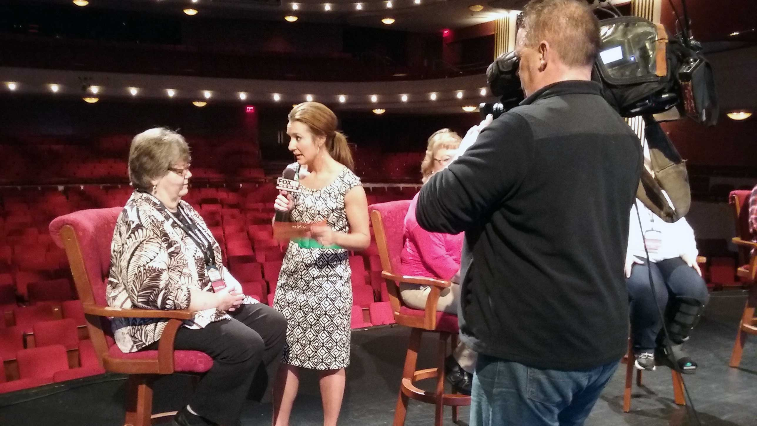 FOX 11's Emily Deem interviews Good Day Wisconsin Broadway Nights finalist Helen Raddant April 13, 2017, at the Fox Cities Performing Arts Center in Appleton. (WLUK/Kimberly Krejcarek)