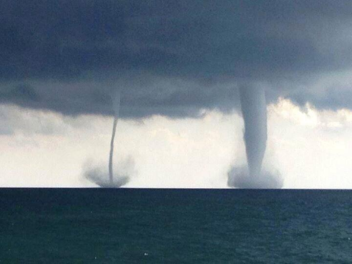 The National Weather Service in Sullivan said the water spouts occurred about four miles southeast from Kenosha.