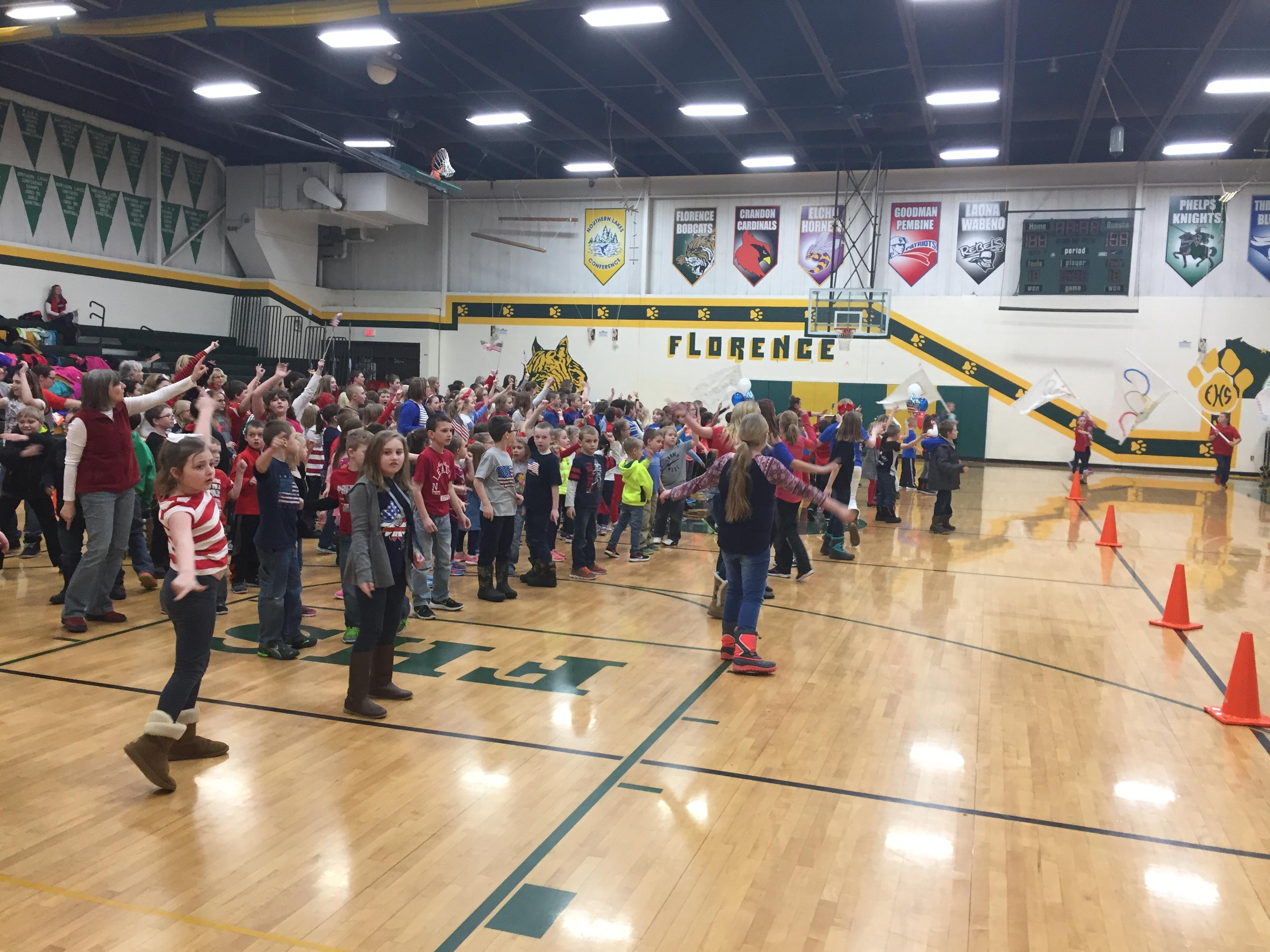 Florence held a pep rally at school for alum, Nita Englund, who will be making her first trip to the Olympics in South Korea as a ski jumper, February  7, 2018. (WLUK)