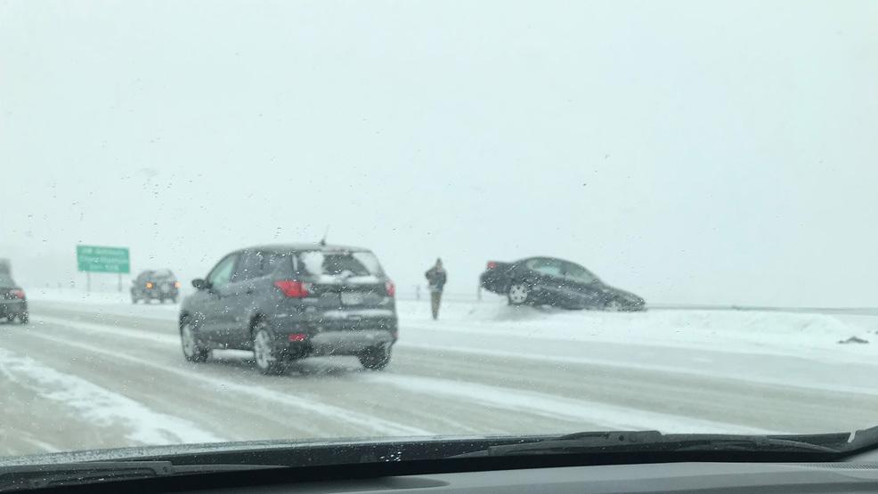 Crash leaves car hanging on side of I-41 Lake Butte des
