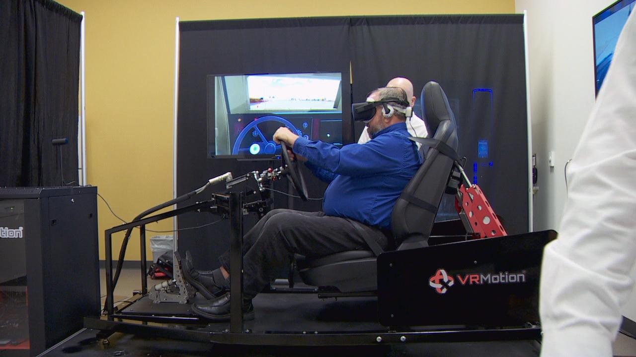 First responders practice their disaster responses using virtual reality technology Thursday, Nov. 9, 2017 at Concordia University. (KATU Photo)
