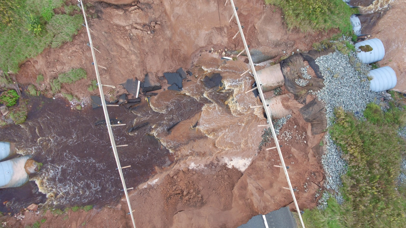 About 35 feet of M-94 in Marquette County, Michigan washed out during flash flooding on Oct. 18, 2016. (SkyFox)
