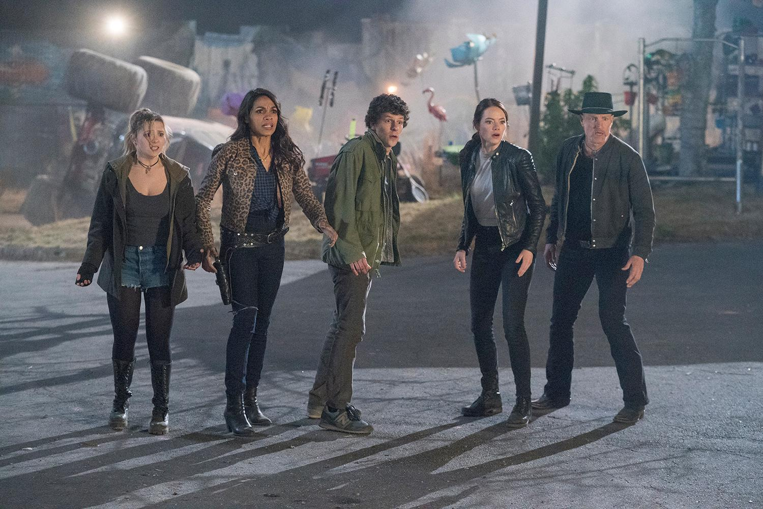 Woody Harrelson (Tallahassee)  Jesse Eisenberg (Columbus)  Emma Stone (Wichita)  Abigail Breslin (Little Rock)  Rosario Dawson (Nevada) in Columbia Pictures' ZOMBIELAND 2: DOUBLE TAP.