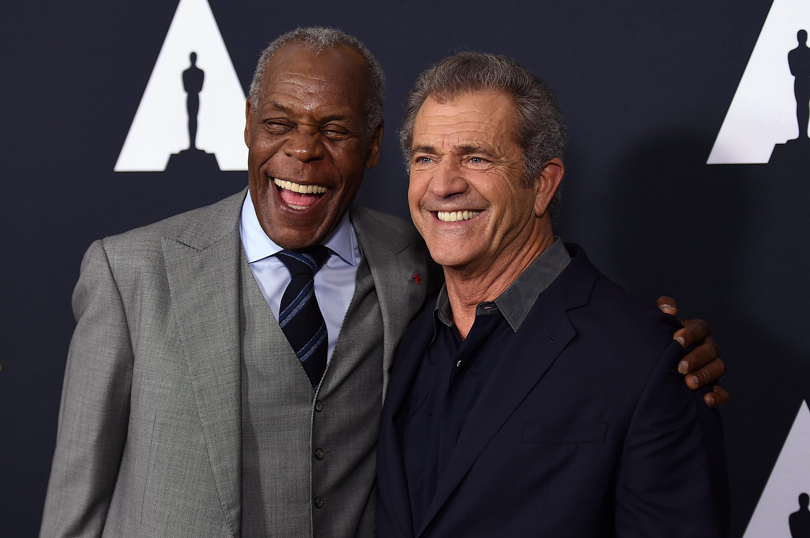 Danny Glover and Mel Gibson arrive at the Richard Donner Tribute on Wednesday, June 7, 2017 in Beverly Hills, Calif. (Photo by Jordan Strauss/Invision/AP)