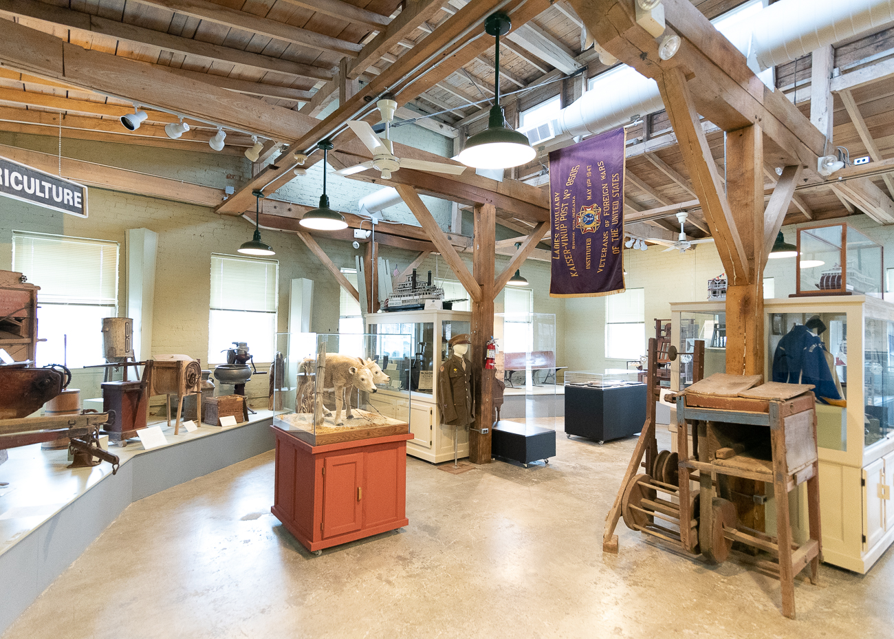 The Siekman Gallery houses a collection of artifacts and documents that tell the tale of early Indiana and Rising Sun/Ohio County. From examples of the plows that were made on-site in the 1800s to the original 1814 map used to divide the land into saleable parcels, there's a number of items in the collection that piece together the story of the area. / Image: Phil Armstrong, Cincinnati Refined // Published: 1.7.20