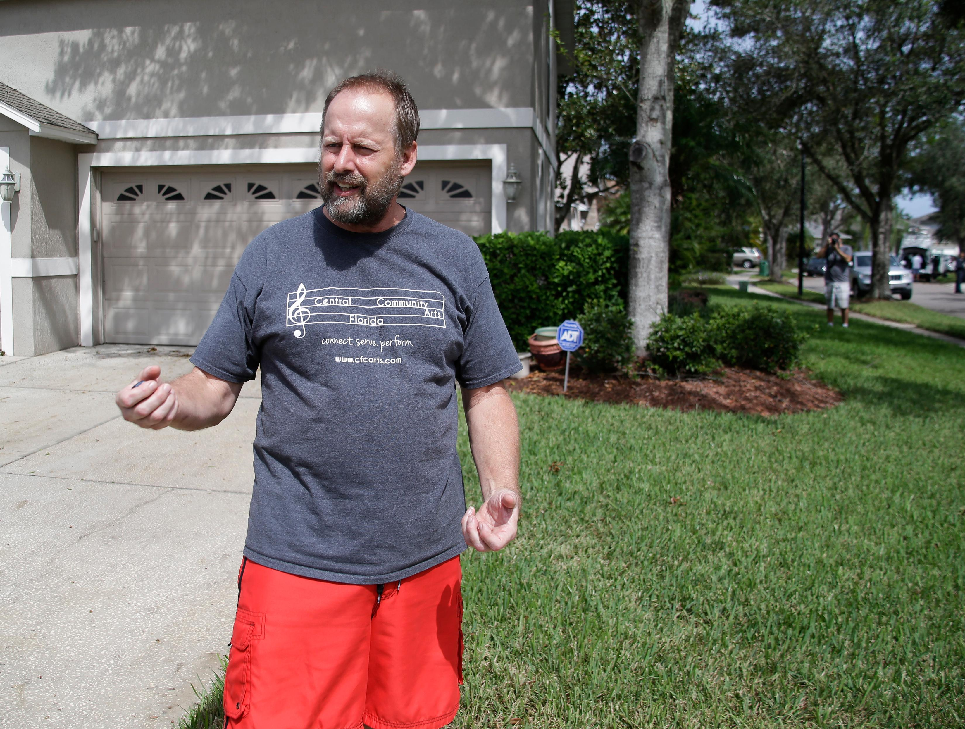 "Eric Paddock, brother of Las Vegas gunman Stephen Paddock, speaks to reporters near his home, Monday, Oct. 2, 2017, in Orlando, Fla. Paddock told the Orlando Sentinel: ""We are completely dumbfounded. We can't understand what happened."" (AP Photo/John Raoux)"