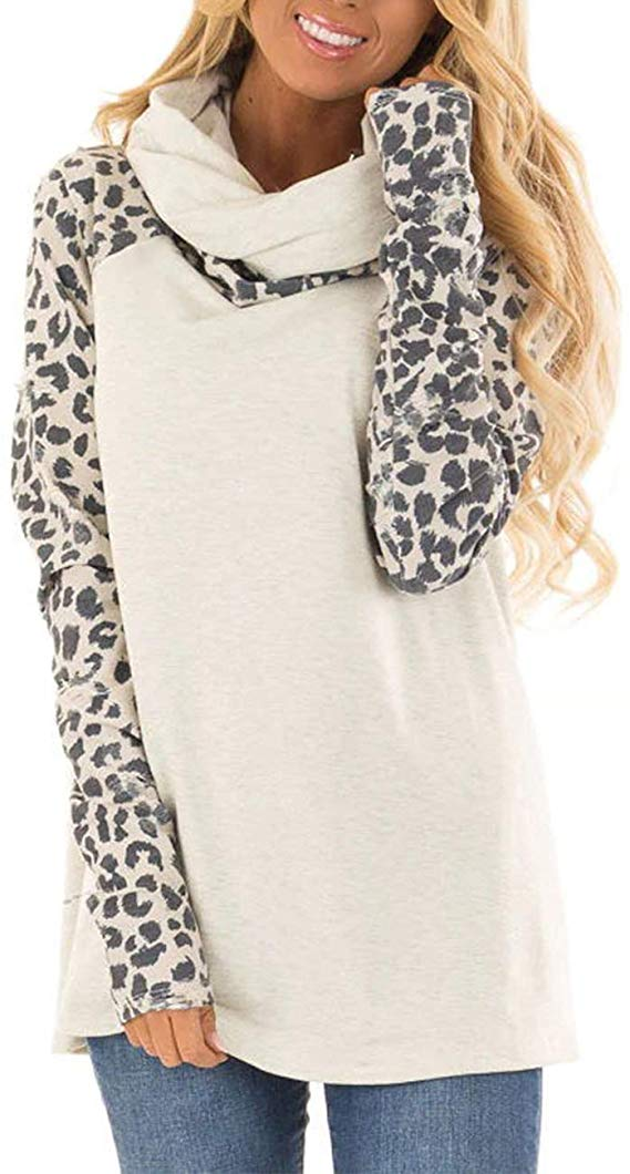Unique leopard print long sleeve patchwork,with the stylish cowl neck.{ } Love, love, love! Shop it{ }- $19.99. (Image: Nordstrom){ }