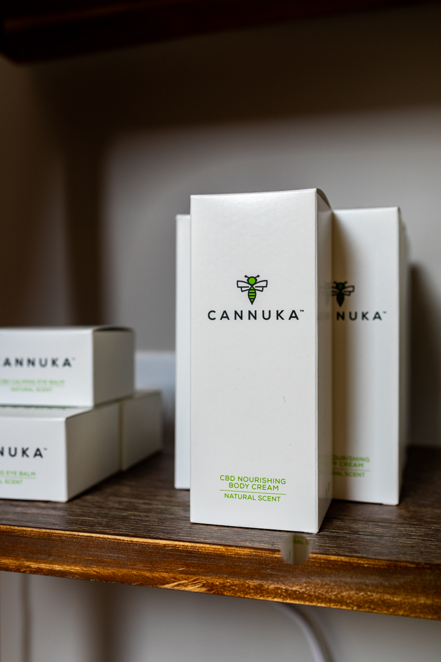 The skin care products available at Oasis Face Bar are locally made. Cannuka products are made with CBD oil and Manuka honey. / Image: Amy Elisabeth Spasoff // Published: 3.17.19