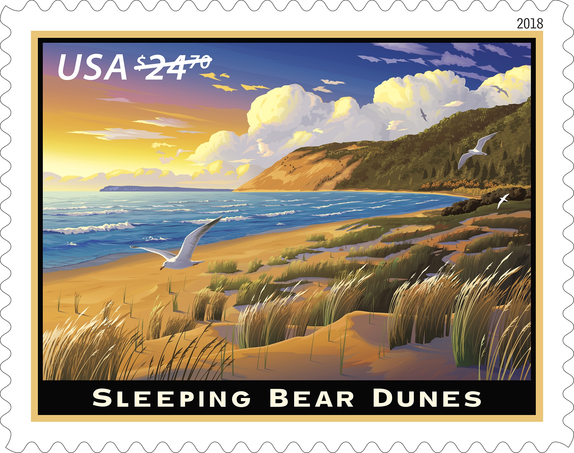 Sleeping Bear Dunes (Priority Mail Express): With this Priority Mail Express stamp, the Postal Service celebrates the Sleeping Bear Dunes, a national park in Michigan that takes its name from a Native American legend. (USPS)