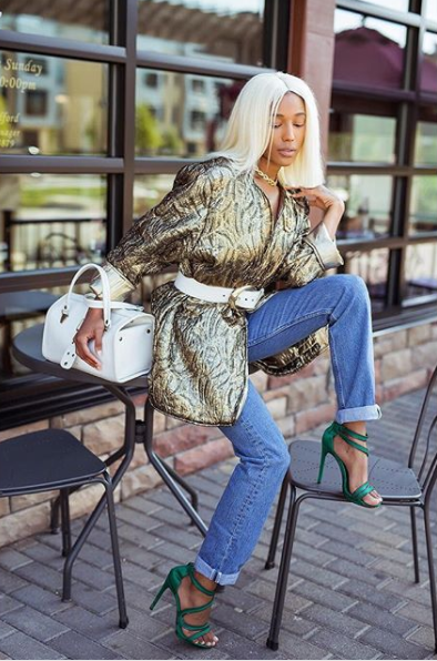 Minus her shoes, this entire outfit is vintage or thrifted -- Krystin we bow down to your thrifting skills! (Image: Courtesy IG user @krystinhargrove/{ }www.instagram.com/krystinhargrove/){ }