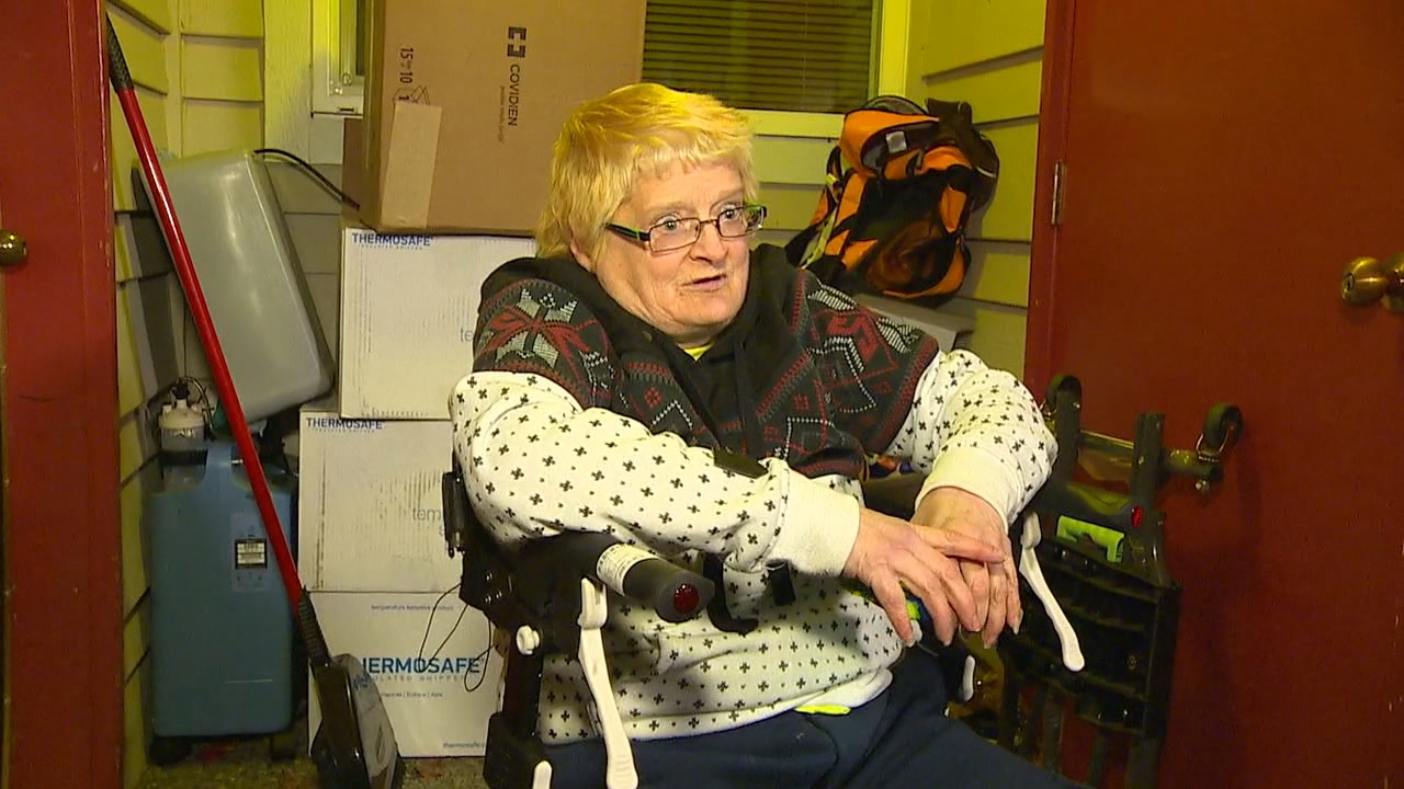 A disabled woman called police for help when her wheelchair was stolen, then waited eleven and a half hours for an officer to arrive. Miriam Tveit hoped police could spot the heavy, motorized wheelchair being ridden away somewhere in her neighborhood but said the slow response crushed any chance of that. (Photo: KOMO News)