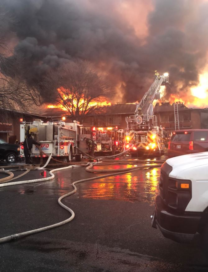 The scene of a major apartment fire in Prince George's County. (Kentland Volunteer Fire Department)<p></p>