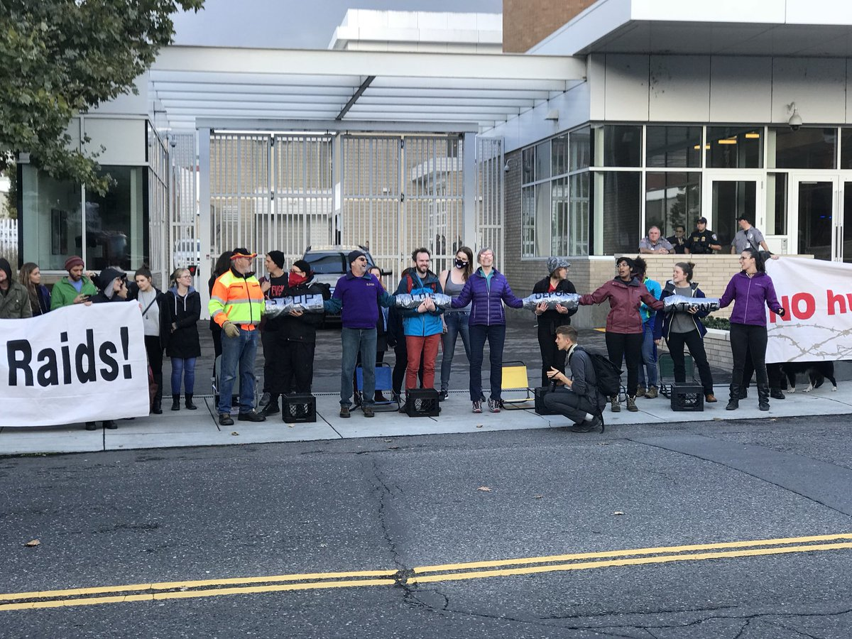 Protest outside Portland ICE building - KATU photo from reporter Jason Nguyen