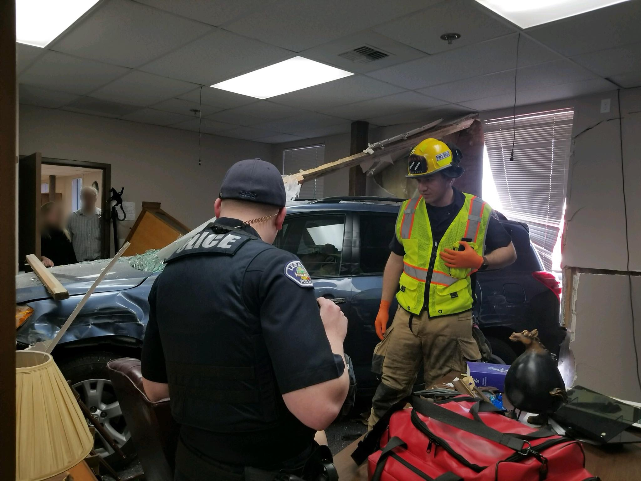 The Lebanon Fire District responded to a woman who had driven through a church on Jan. 16, 2018. Photo courtesy Lebanon Fire District