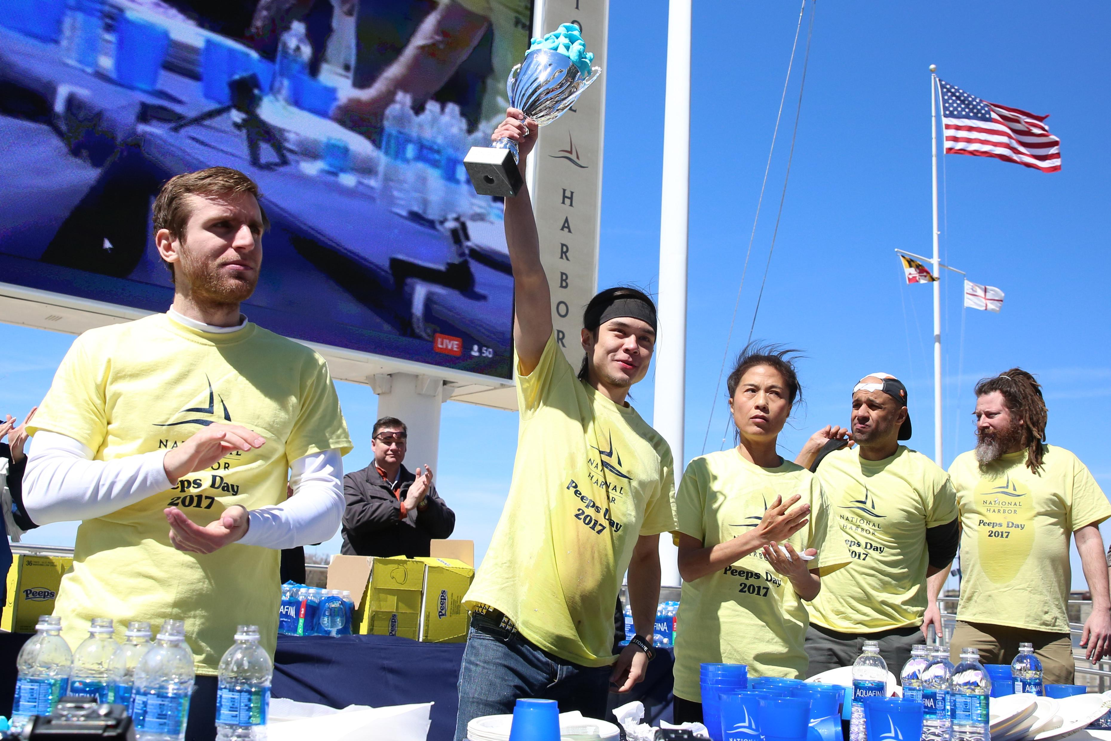 Veteran champ Matt Stonie won, having eaten 255 Peeps - a new record.  (Amanda Andrade-Rhoades/DC Refined)