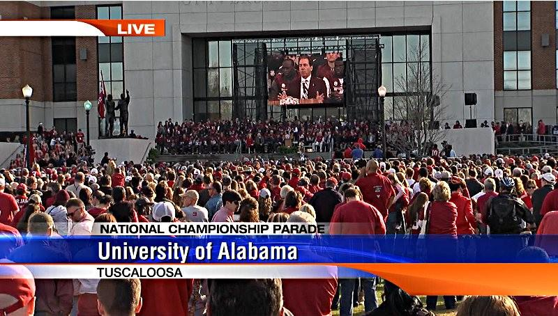 Thousands of Alabama fans listen to Nick Saban speak during the BCS National Championship celebration outside Bryant-Denny Stadium on Saturday, January 19, 2013.
