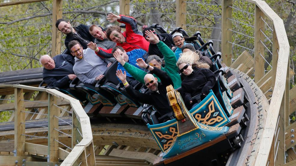 Roller Coaster Fans Ride The InvadR Wooden Roller Coaster At Busch Gardens  In Williamsburg , Va., Friday, April 7, 2017. The Coaster Is The Parks  First ...