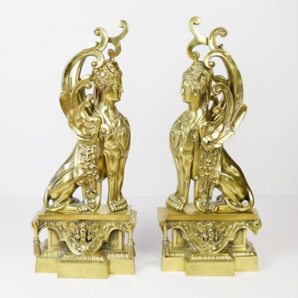 Pair of Antique Figural Brass Griffin Andirons / Image courtesy of Everything But The House // Published: 10.15.16