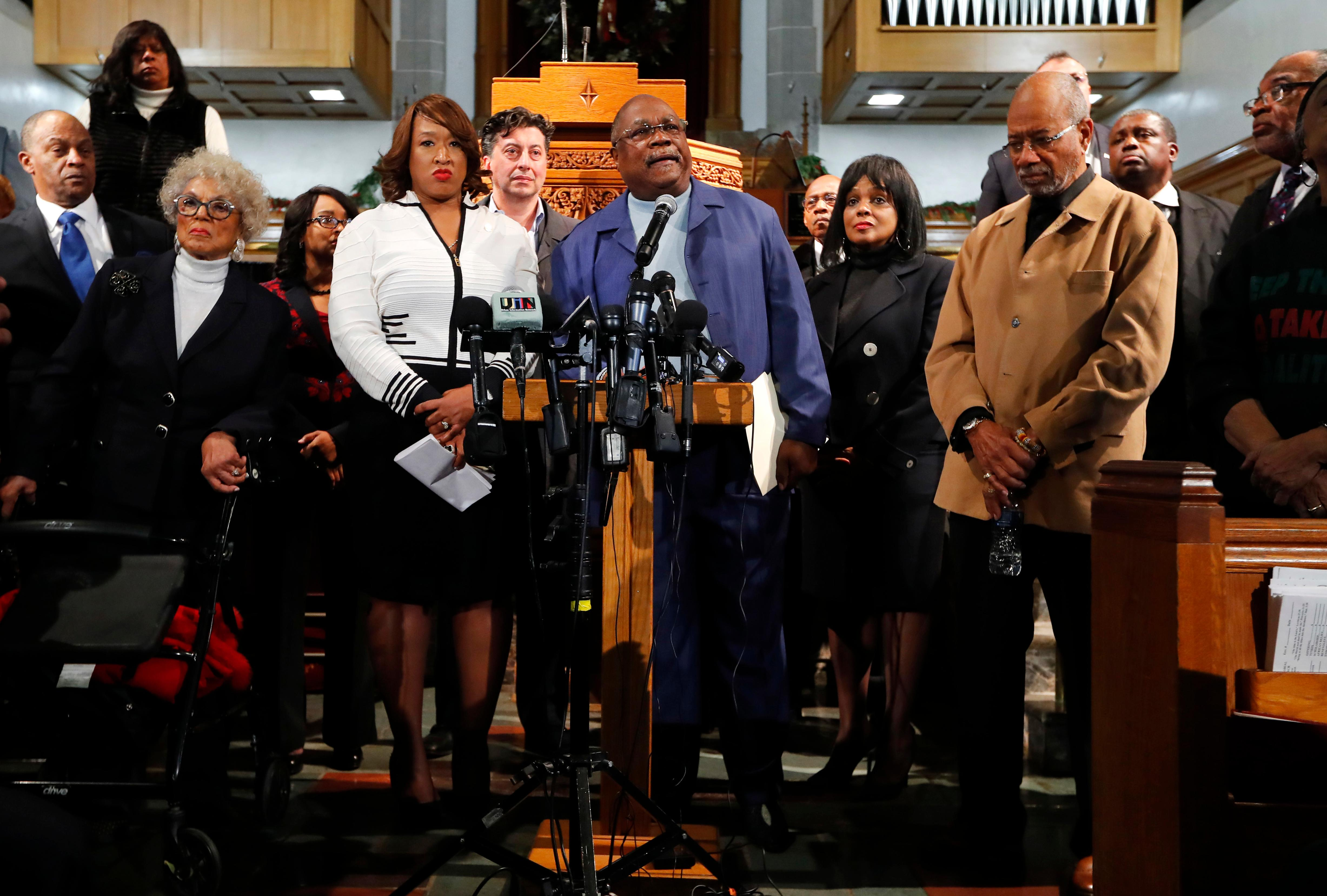 The Rev. Wendell Anthony, president of the Detroit Branch of the NAACP speaks at a rally in Detroit, Monday, Dec. 4, 2017. Clergy, Detroit elected leaders and community activists are calling for due process in support of U.S. Rep. John Conyers, D-Mich., who faces allegations of sexual harassment from several women who once worked for him. (AP Photo/Paul Sancya)