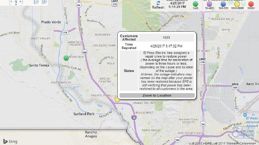 Power Outage Map Al.Update Power Restored To El Paso Las Cruces Residents Kfox